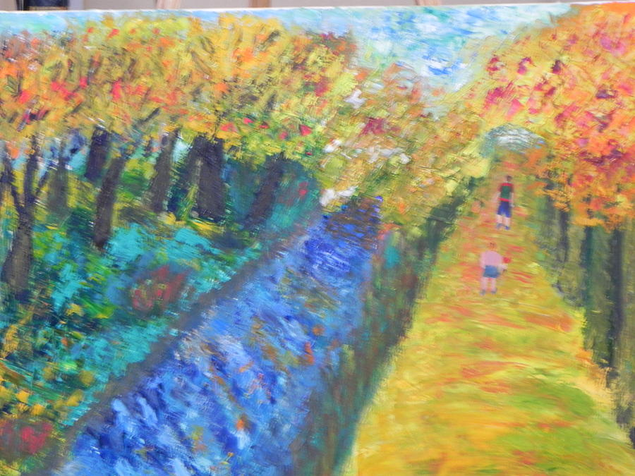 Pa. Painting - Canal And Towpath by Ernie Goldberg