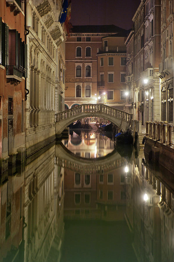 Canal At Dusk In Venice Photograph by Izzet Keribar
