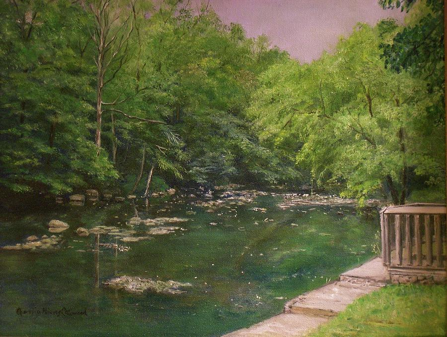 Prallsville Mills Painting - Canal At Prallsville Mills by Aurelia Nieves-Callwood