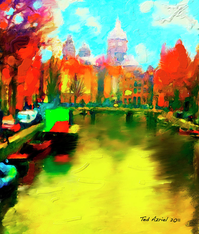 Canals Of Amsterdam Painting by Ted Azriel