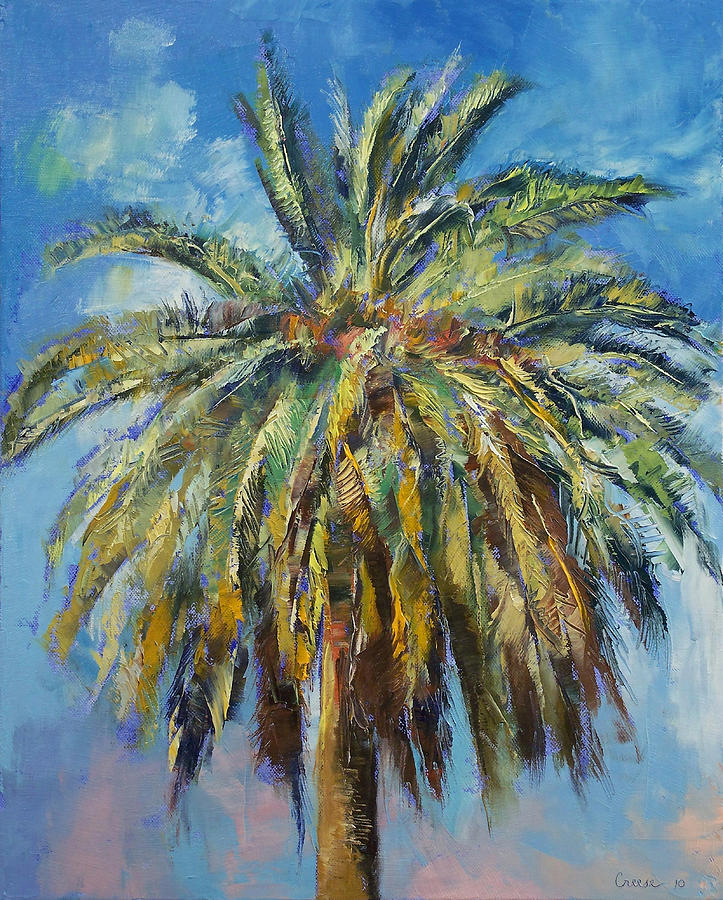 Canary island date palm painting by michael creese for Painting palm trees