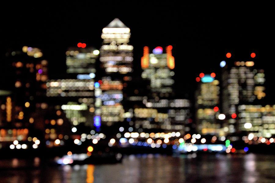 Canary Wharf Photograph - Canary Wharf Bokeh by Adam Lister