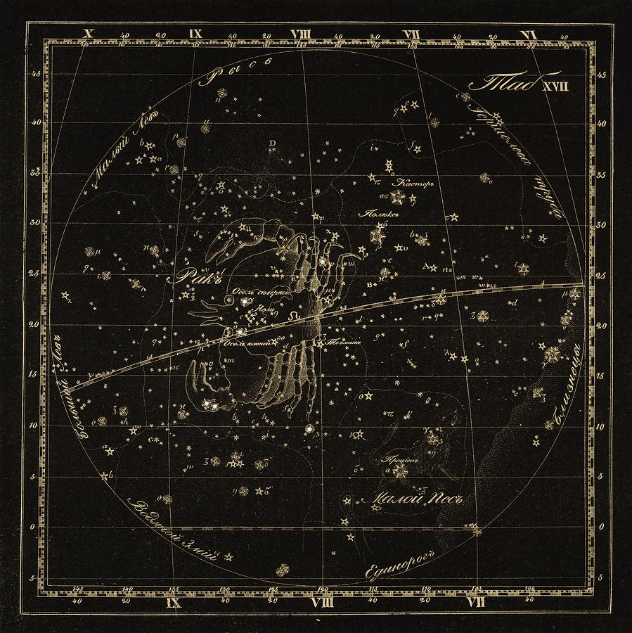 Cancer Photograph - Cancer Constellations, 1829 by Science Photo Library