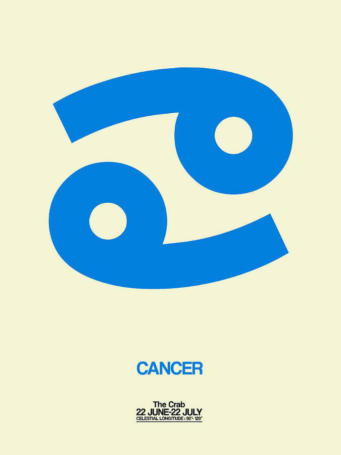 Cancer Digital Art - Cancer Zodiac Sign Blue by Naxart Studio