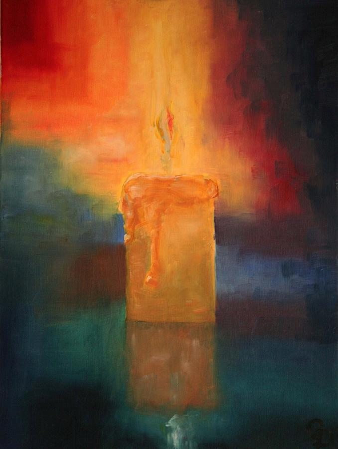Candle flame painting by george dadiani for Candle painting medium