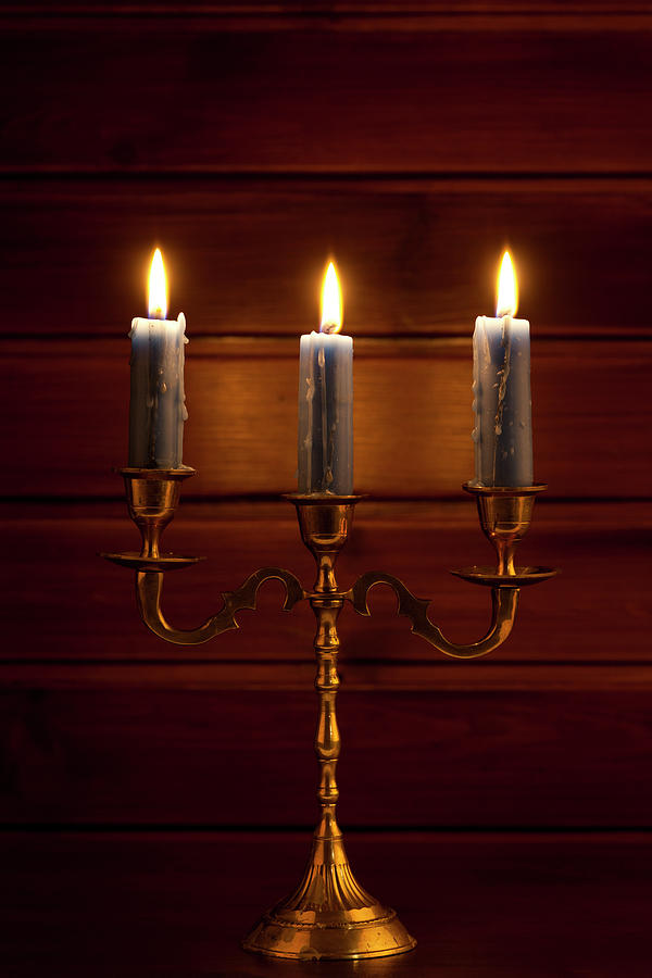 Candle On Copper Holder Photograph by Pannonia