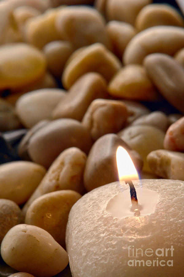 Candle Photograph - Candle On The Rocks by Olivier Le Queinec