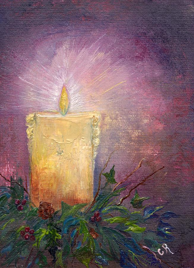 Holly Painting - Candlelight by Carol Rowland