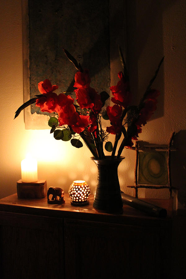 Flowers In A Vase Photograph - Candles And Orange Gladiolus by Ron McMath