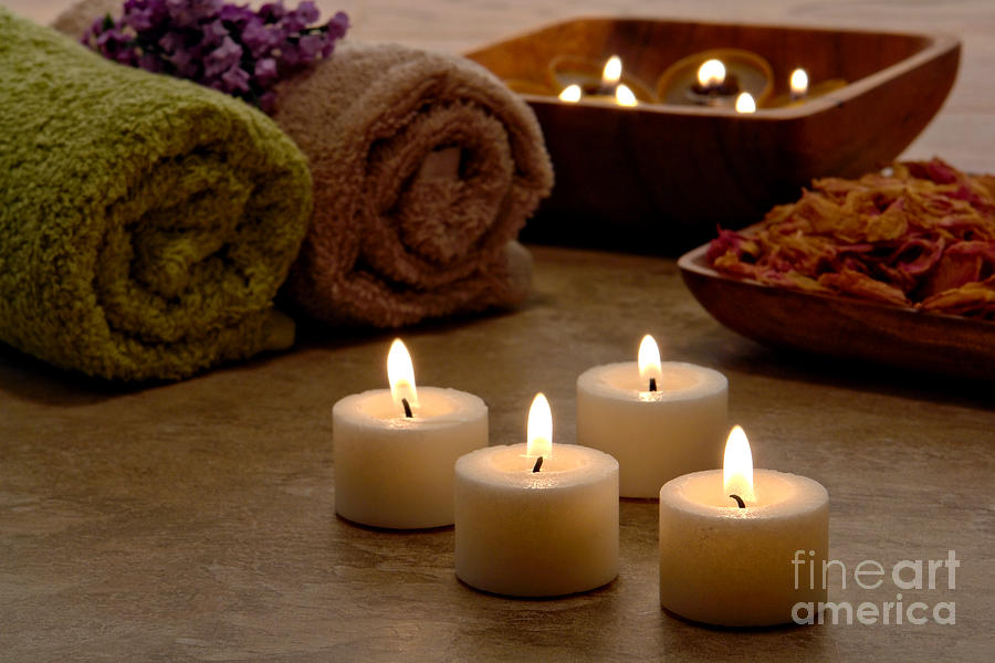 Spa Photograph - Candles In A Spa by Olivier Le Queinec