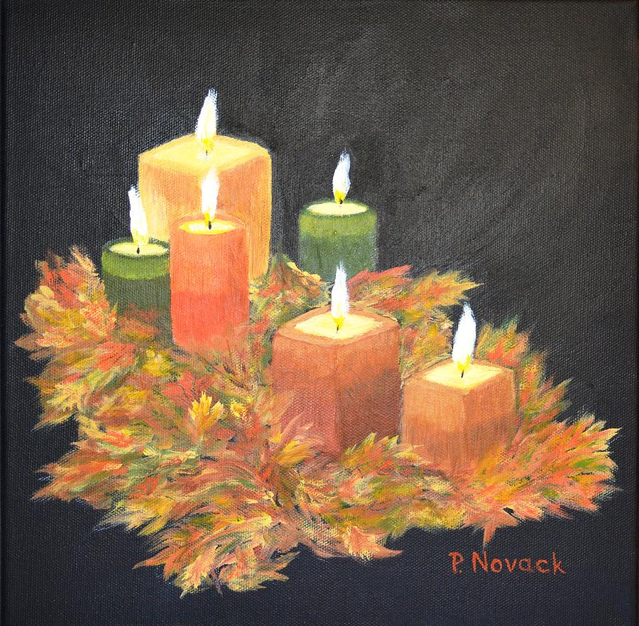 Candles in autumn painting by patricia novack for Candle painting medium