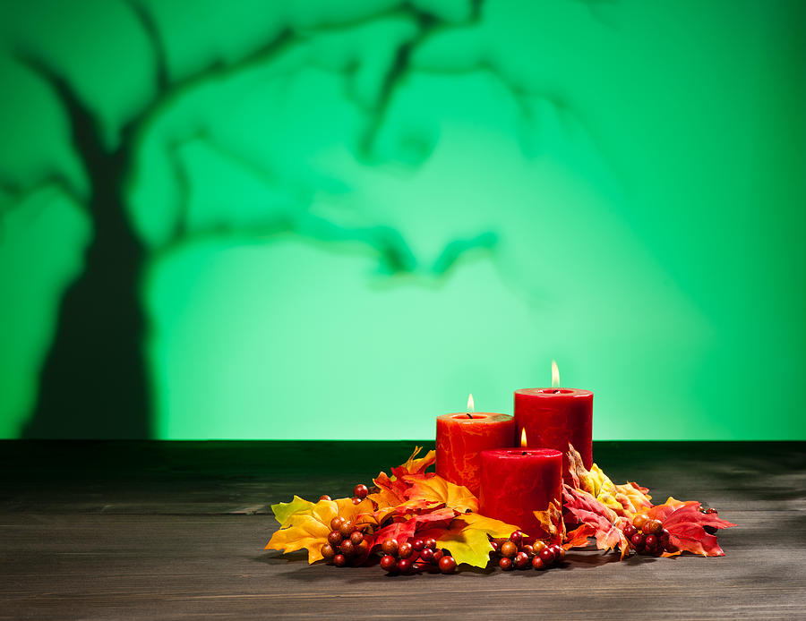 Candles In Halloween Setting Photograph