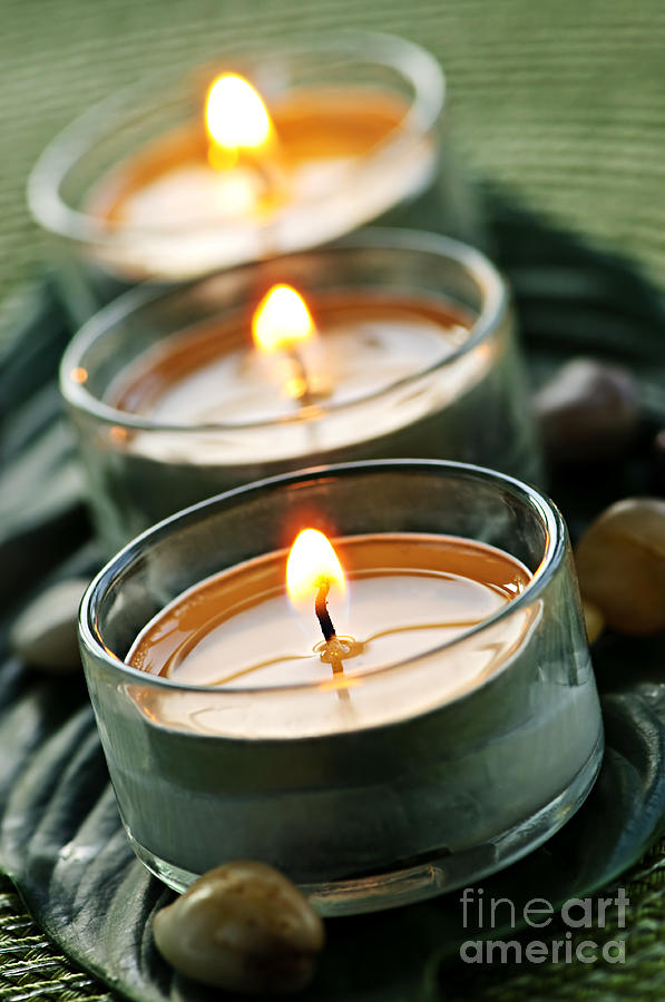 Candles Photograph - Candles On Green by Elena Elisseeva