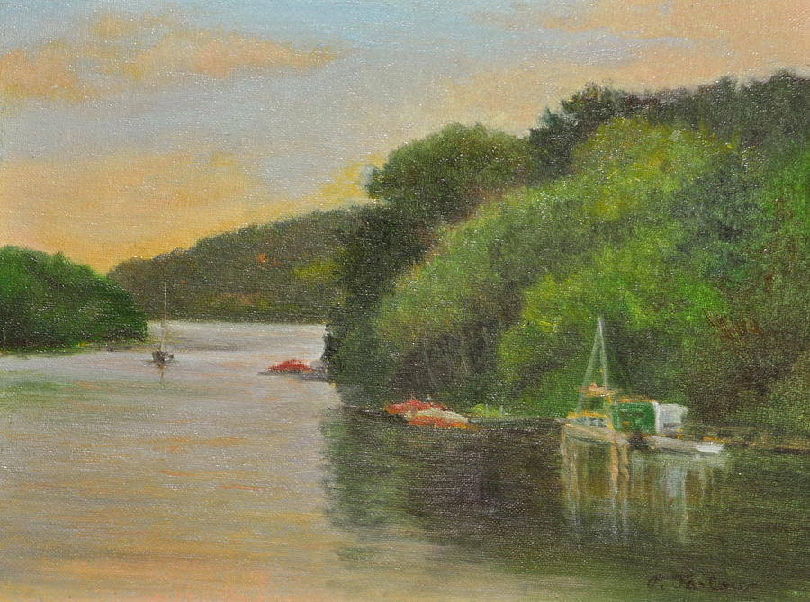 Landscape Painting - Candlewood Lake Late Afternoon by Phyllis Tarlow