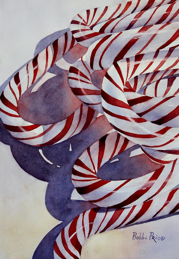 Watercolors Painting - Candy Cane Christmas by Bobbi Price