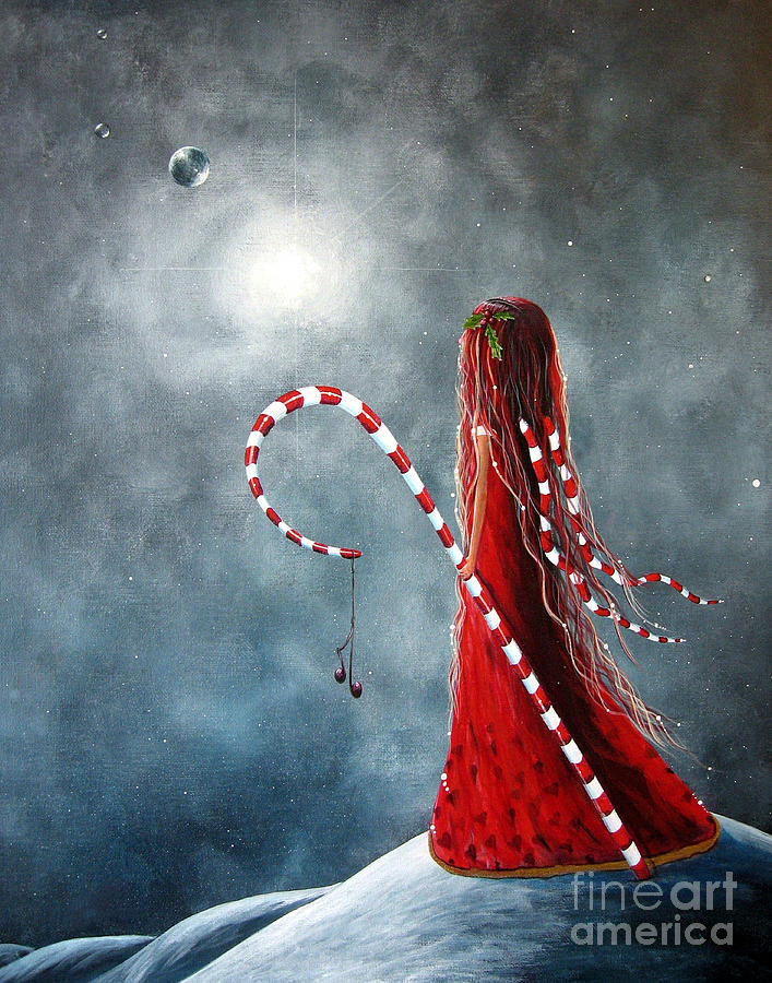 Fairies Painting - Candy Cane Fairy By Shawna Erback by Shawna Erback