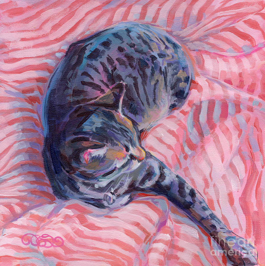 Tabby Cat Painting - Candy Cane by Kimberly Santini
