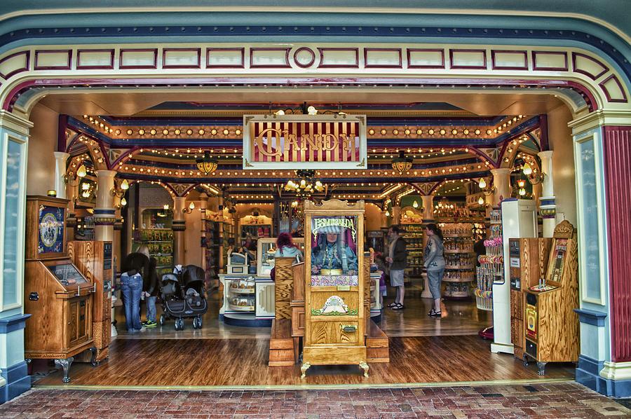 Disney Photograph - Candy Shop Main Street Disneyland 01 by Thomas Woolworth