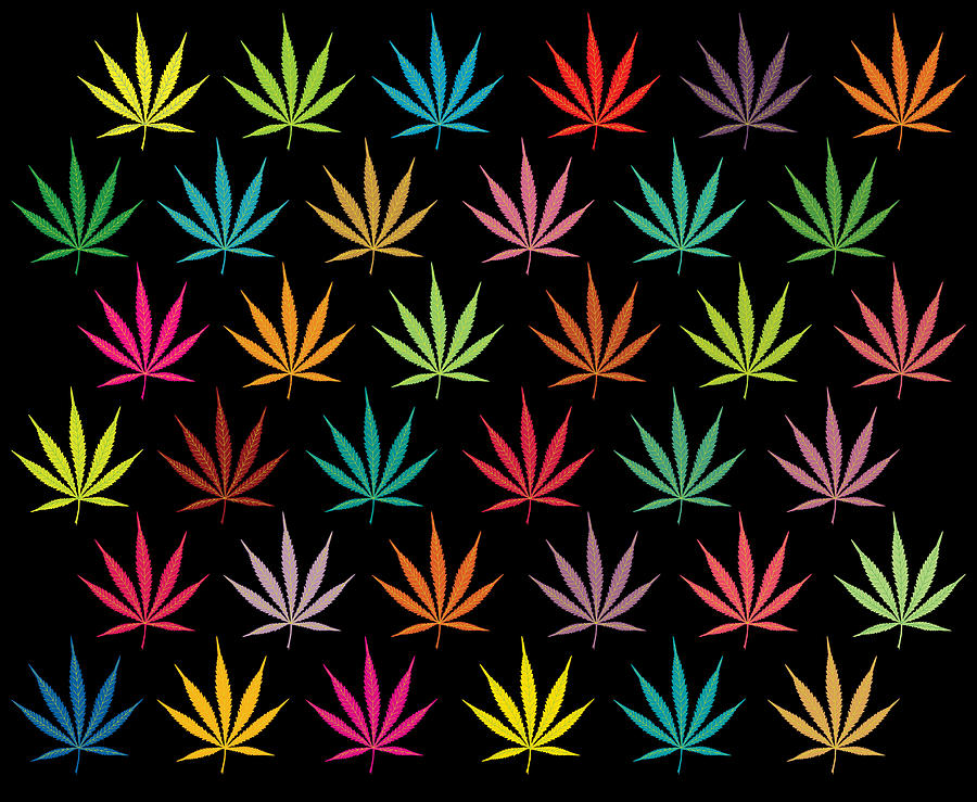 Cannabis leaf multi coloured pattern digital art by image zone for Design patterns for pot painting