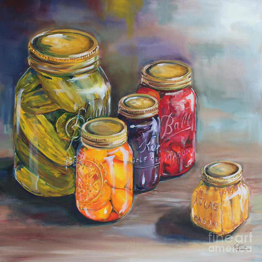 Canning Jars Painting - Canning Jars by Kristine Kainer