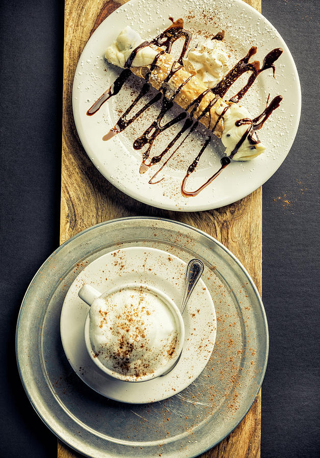 Cannoli And Cappuccino Photograph by Chang
