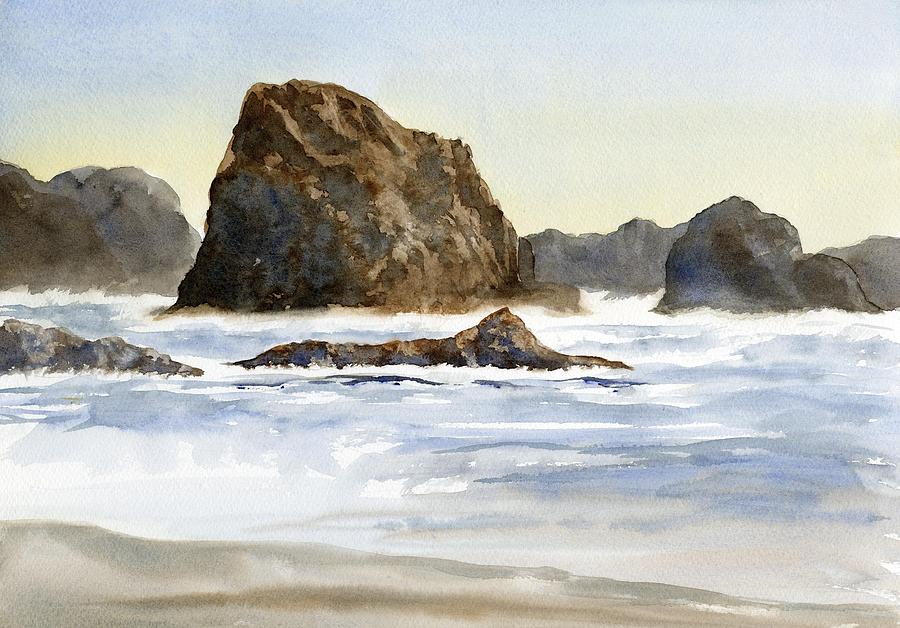 Oregon Painting - Cannon Beach Rocks With Waves by Sharon Freeman