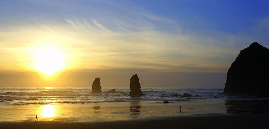 Haystack Rock Photograph - Cannon Beach Sunset by DerekTXFactor Creative