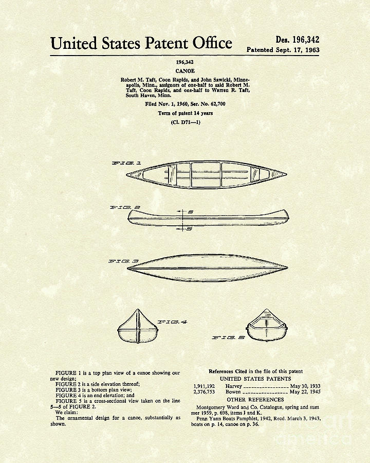 Taft Drawing - Canoe 1963 Patent Art by Prior Art Design