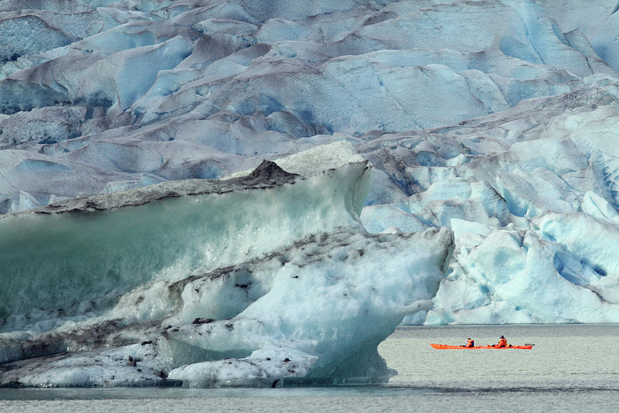Canoe And Glacier Ice Photograph by P. De Graaf