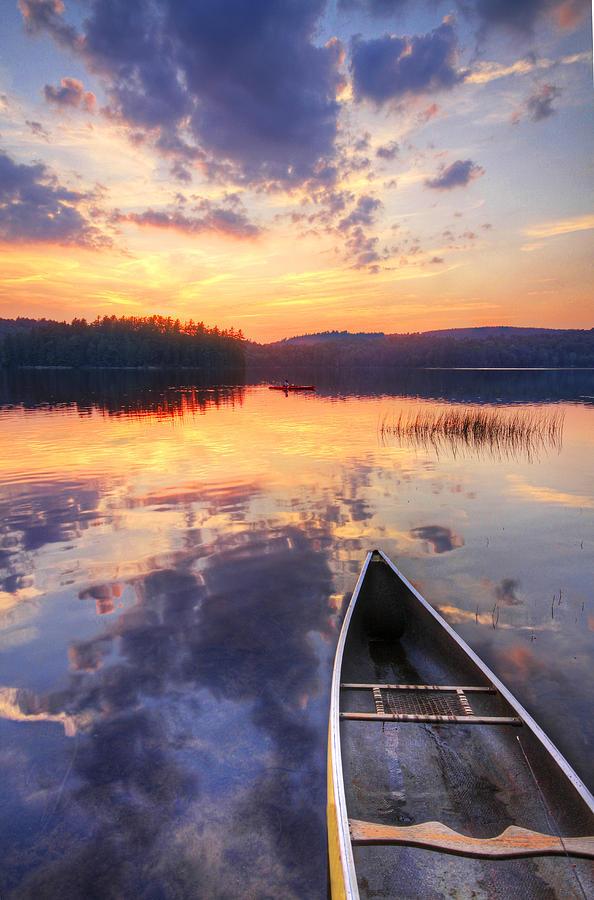 Canoe And Kayak In Mountain Lake At Photograph by Matt Champlin