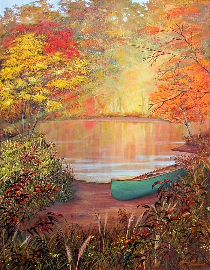 Canoe Painting - Canoe Landing  by John Samsen