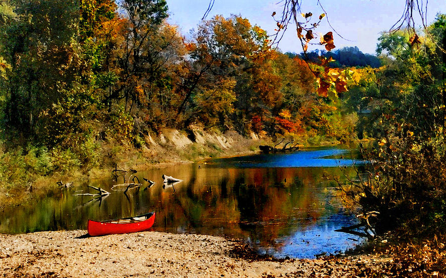 Autumn Photograph - Canoe On The Gasconade River by Steve Karol