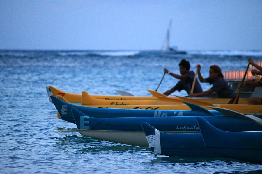 Canoe Photograph - Canoe Paddling by Saya Studios