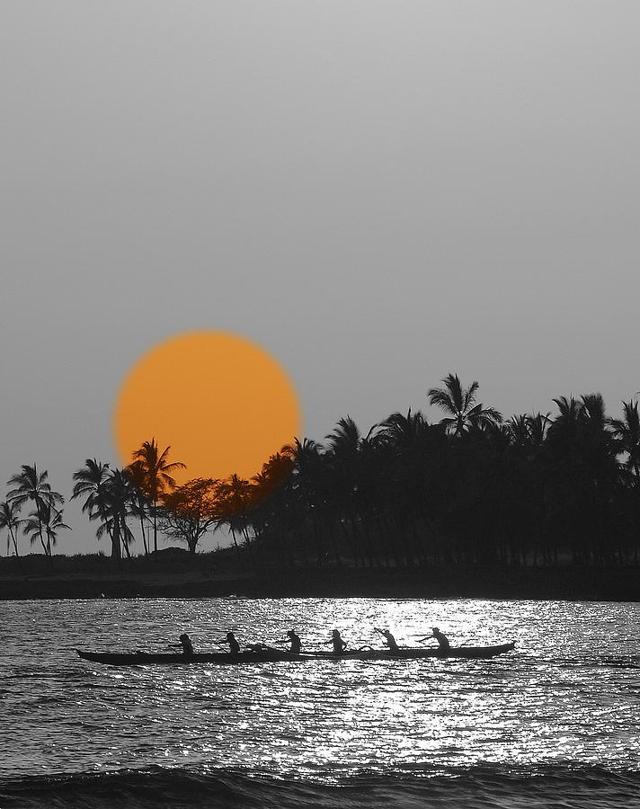 Sunsets Photograph - Canoe Ride In The Sunset by Athala Carole Bruckner