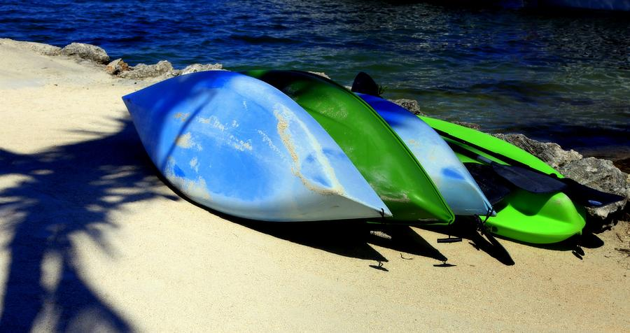 Canoes Photograph - Canoe Shadows by Karen Wiles