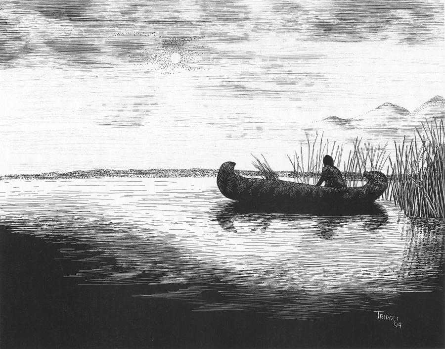 Nature Drawing - Canoe Silhouette by Lawrence Tripoli