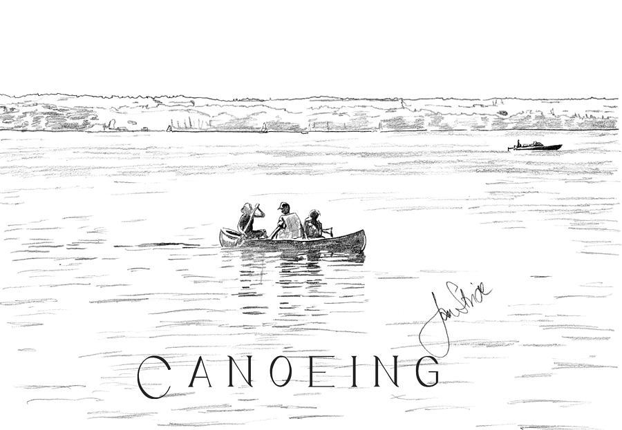 Canoe Drawing - Canoeing On The Lake by Jan Stride