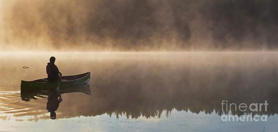Canoe Photograph - Canoeist On A Golden Misty Morning by Barbara McMahon