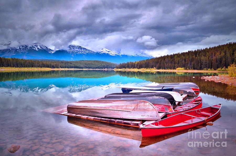 Canoe Photograph - Canoes At Lake Patricia by Tara Turner