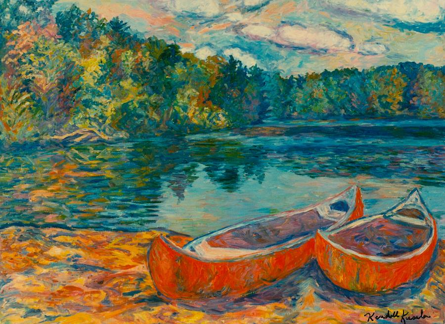 Landscape Painting - Canoes at Mountain Lake by Kendall Kessler