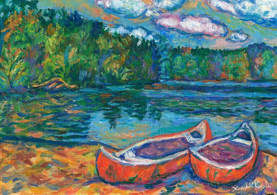 Landscape Painting - Canoes at Mountain Lake Sketch by Kendall Kessler