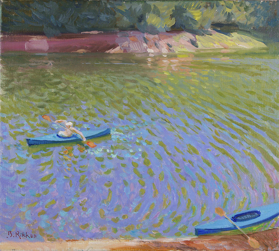 Summer Painting - Canoes At The Lac De Pannaciere  by Ben Rikken