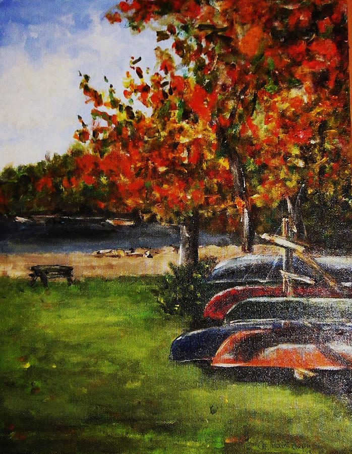 Canoe Painting - Canoes By The Lake by Andrea Flint Lapins
