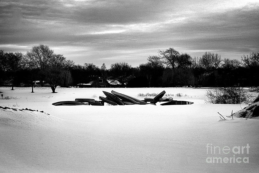 Canoes in the Snow - Monochrome by Frank J Casella