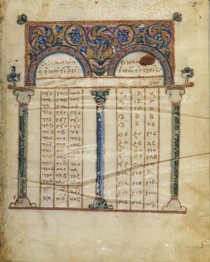 Canon Painting - Canon Table Page Unknown Constantinople by Litz Collection