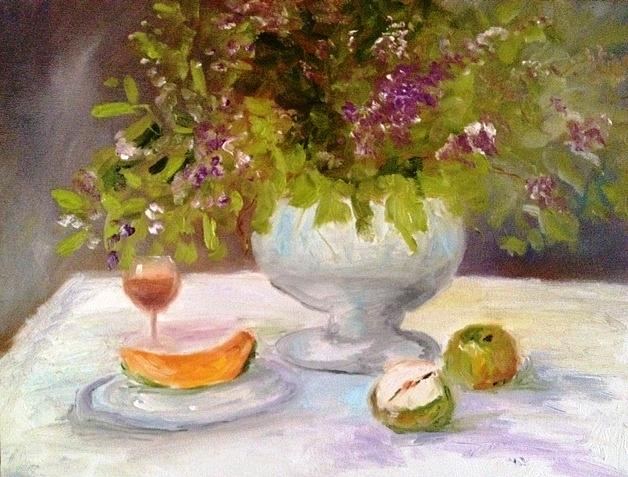 Fruit Painting - Cantelope and apples by Jenell Richards