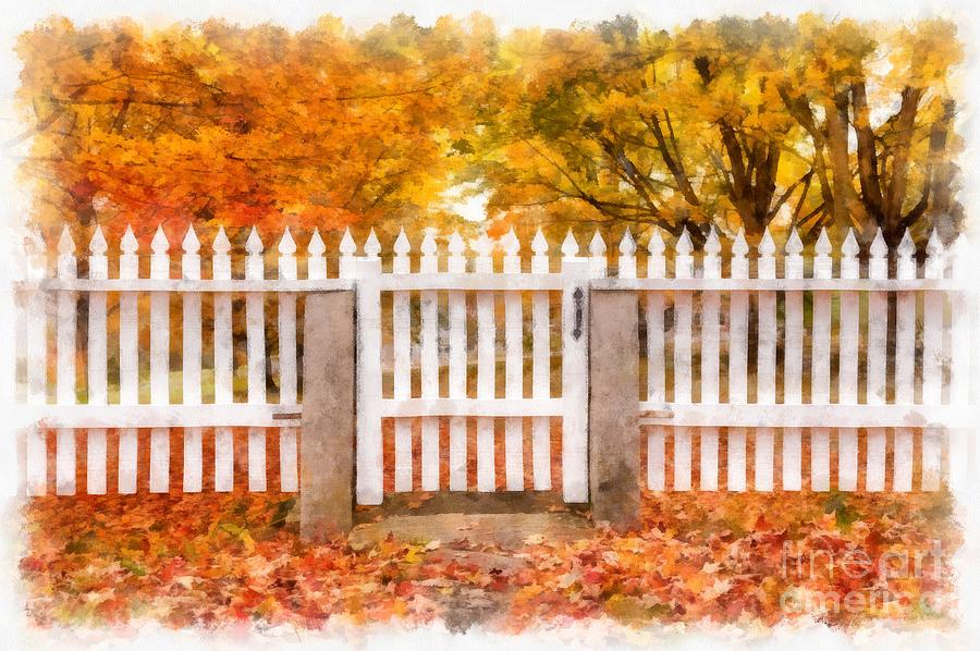 Fall Photograph - Canterbury Shaker Village Picket Fence  by Edward Fielding
