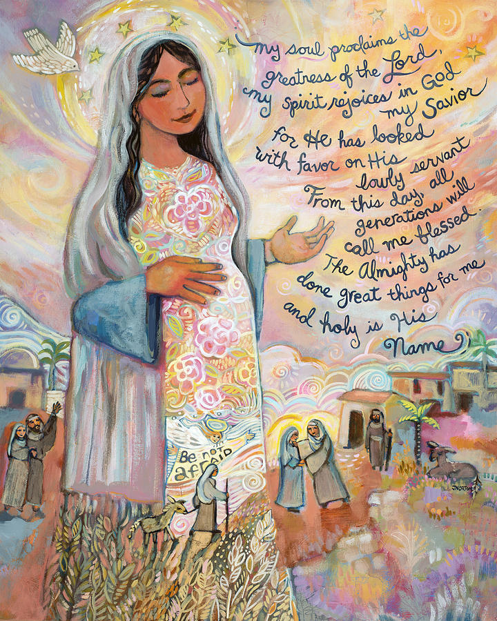 Hail Mary Painting - Canticle of Mary by Jen Norton