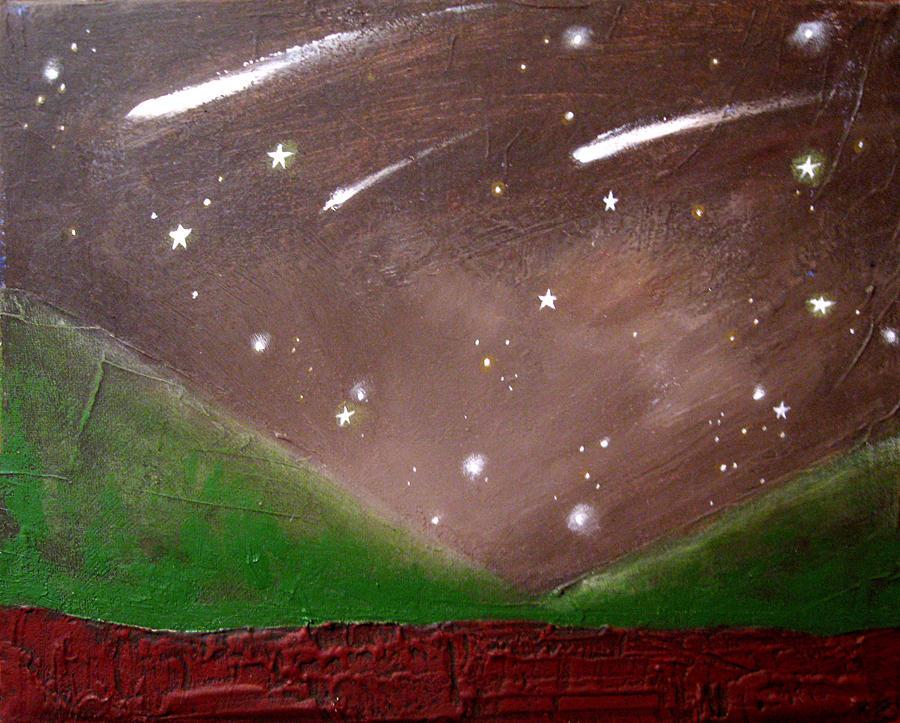canvas art shooting star original painting whimsical art kids