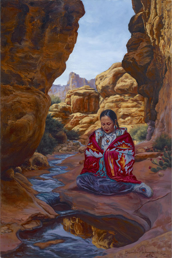 Stream Painting - Canyon Cathedral by Christine Lytwynczuk